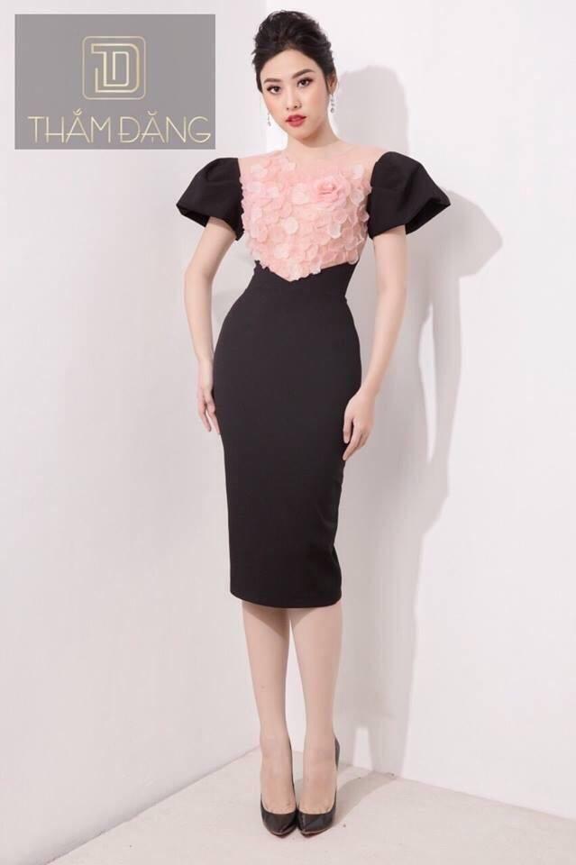 Váy body hoa hồng tay phồng