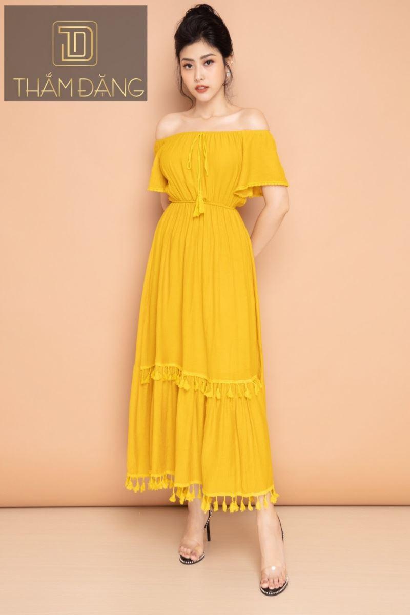 Đầm xòe gam màu vàng