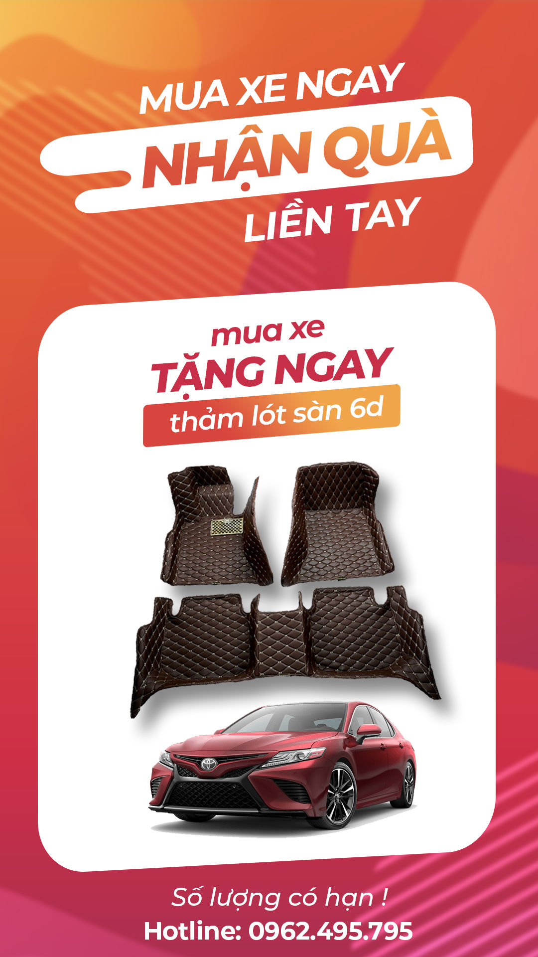 Khi mua xe Toyota Camry mới hoặc cũ, bạn sẽ được nhận ngay bộ quà tặng siêu hấp dẫn, liên hệ Hotline để đăng ký ngay