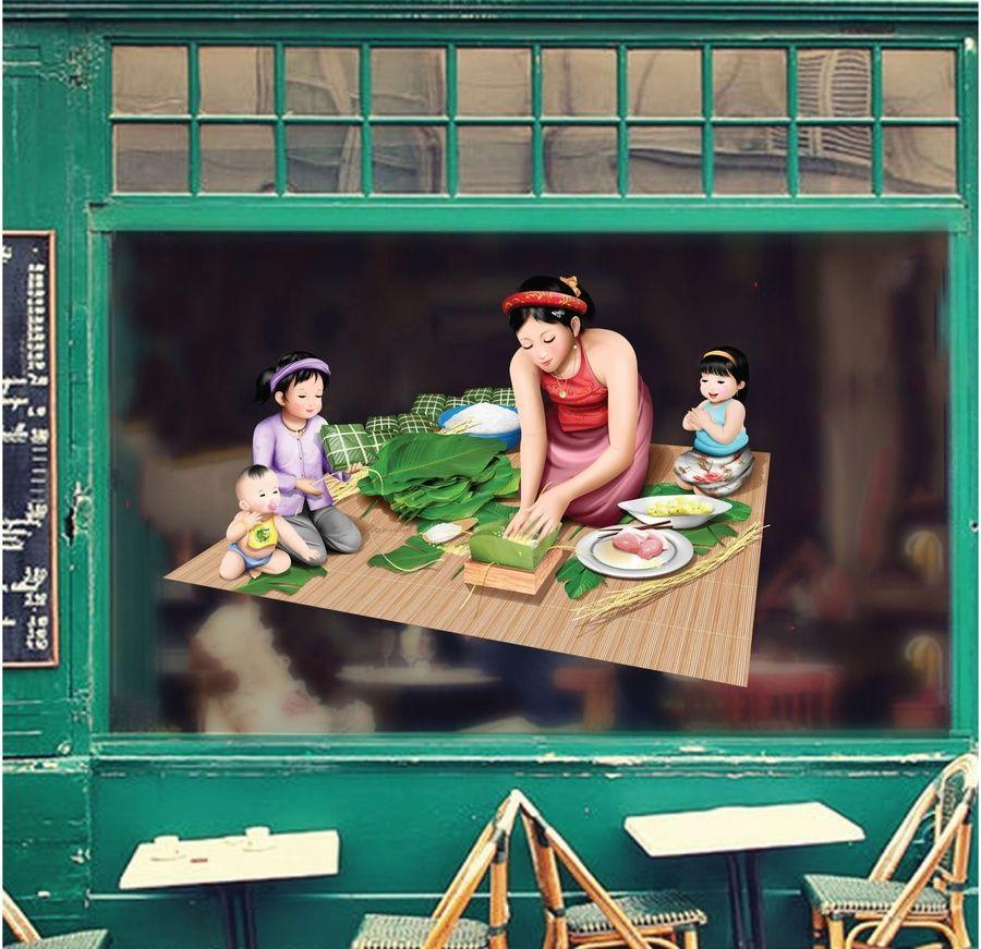 Vé trang trí cửa kính bánh trưng - bánh tét xanh