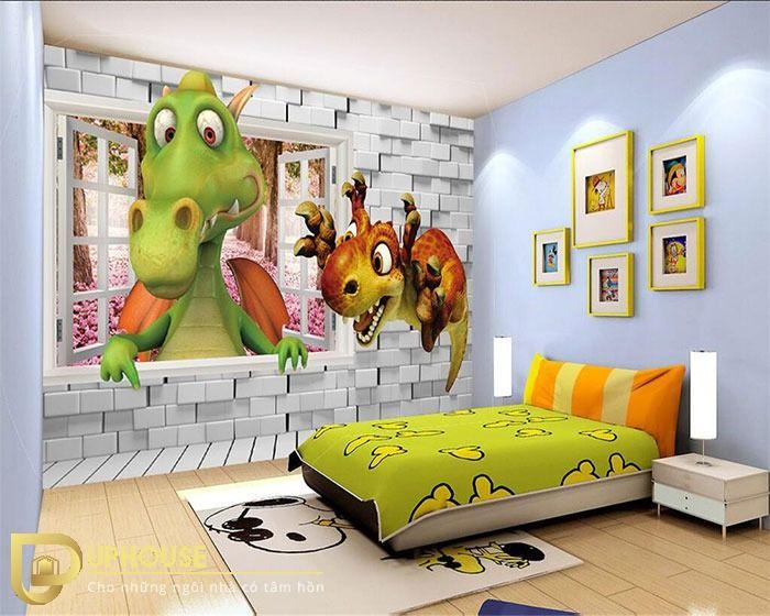 Mẫu vẽ tranh tường hình siêu dễ thương cho các bé