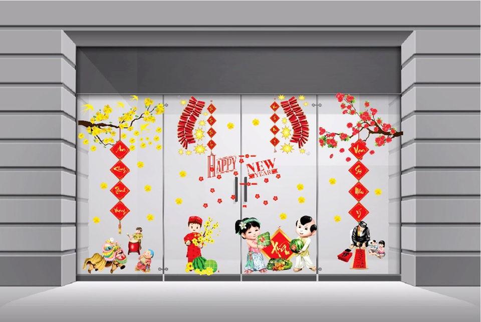 Mẫu trang trí Hoa Mai trên cửa kính