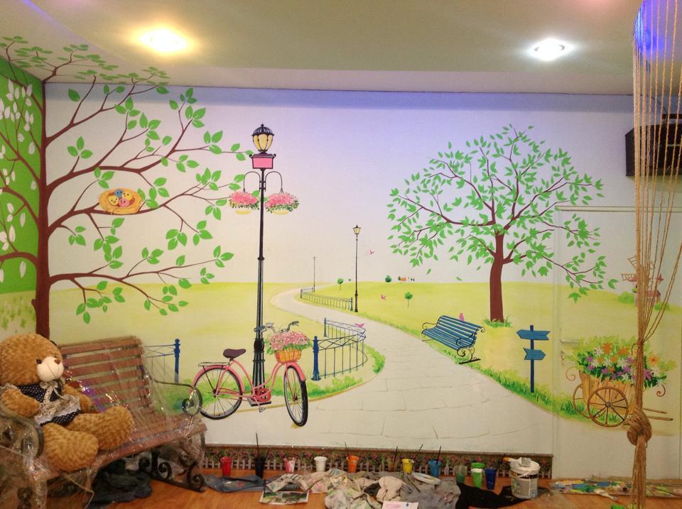 Vẽ tranh tường nhà hàng bằng chất liệu gì
